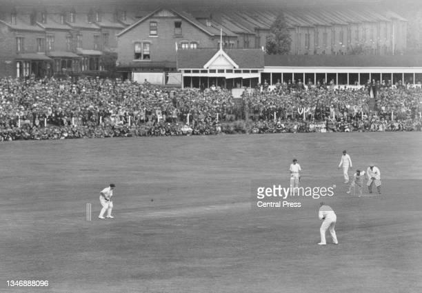 Harold Larwood of England bowls to Stan McCabe of Australia during the Australian 1st innings of the 3rd Test match of the England versus Australia...