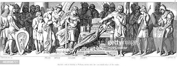 Harold last AngloSaxon king of England swears on hidden relics of saints to be William of Normandy's man in England watched by William his wife...