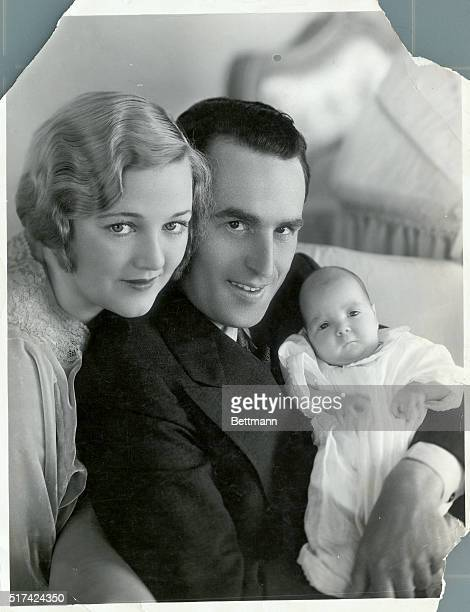 Harold Lloyd legendary comedian of the silent screen with his wife actress Mildred Davis and their newborn son Harold Jr