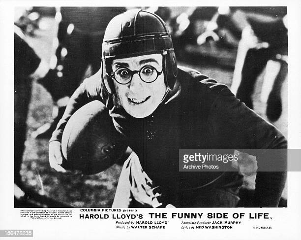Harold Lloyd plays football in a scene from the film 'Funny Side Of Life' 1963
