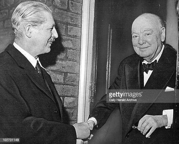 Harold Macmillan and Winston Churchill January 1957 Macmillan the new prime minister shakes hands with a previous PM Maurice Harold Macmillan 1st...