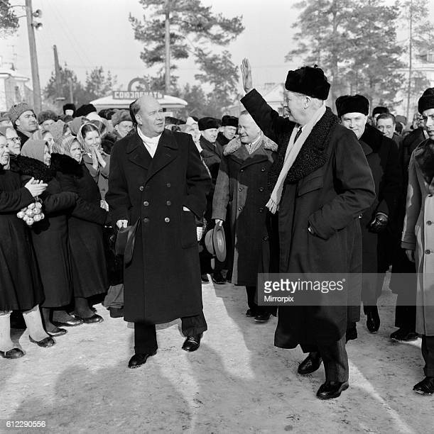 Harold MacMillan talks with Kruschev and Mickoyan Arriving at the Joint Institute of Nuclear Research at Dubna 25th February 1959