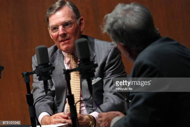 Harold McGraw III the chairman emeritus of SP Global Inc left being interviewed by the radio host Robert Sherman at Paul Hall at the Juilliard School...