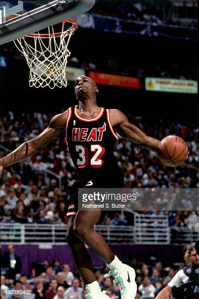Harold Miner of the Miami Heat attempts a dunk during the 1993 NBA Slam Dunk Contest on February 20 1993 at the Delta Center in Salt Lake City Utah...