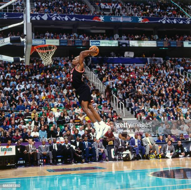 Harold Miner of the Miami Heat attempts a dunk during the 1993 Slam Dunk Contest on February 20 1993 at the Delta Center in Salt Lake City Utah NOTE...