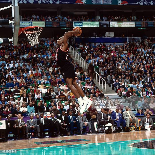 Harold Miner of the Miami Heat dunks during the 1993 AllStar Slam Dunk Contest on February 20 1993 at the Delta Center in Salt Lake City Utah NOTE TO...