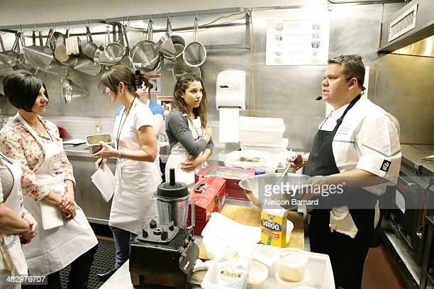 Harold Moore of Commerce Restaurant prepares Striped Bass Crudo with Cerignola Olives, Fennel and Sweet Basil,Sour Dough Tartine with Burrata Cheese,...