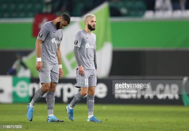 Harold Moukoudi and Franck Honorat of AS Saint-Etienne look dejected following the UEFA Europa League group I match the UEFA Europa League group I...