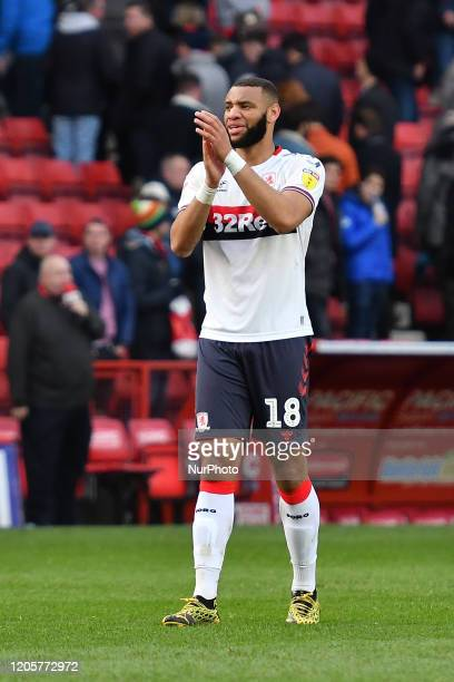 Harold Moukoudi applaud the fans during the Sky Bet Championship match between Charlton Athletic and Middlesbrough at The Valley London on Saturday...