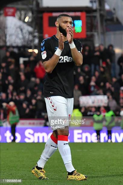 Harold Moukoudi of Middlesbrough applauds fans after the Sky Bet Championship match between Brentford and Middlesbrough at Griffin Park on February 8...