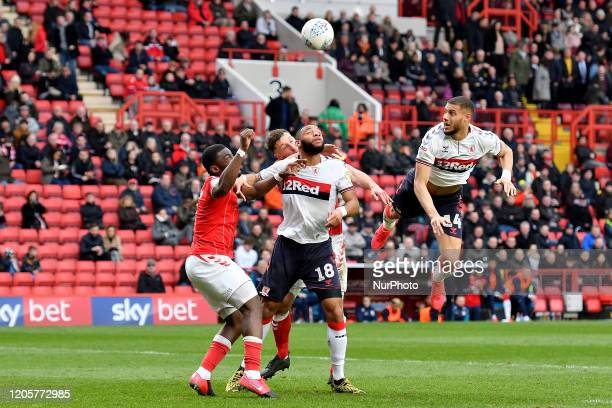 Harold Moukoudi of Middlesbrough contests a header with Deji Oshilaja of Charlton during the Sky Bet Championship match between Charlton Athletic and...