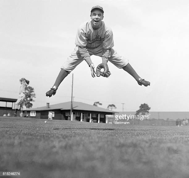Harold Peewee Reese Practicing in Action