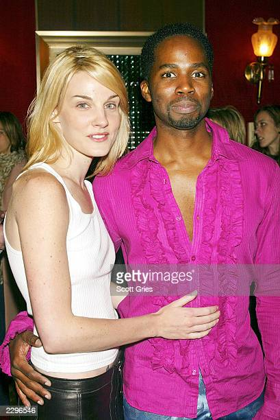 Harold Perrineau Jr and his wife arrive at the New York premiere of The Matrix Reloaded May 13 2003 at the Ziegfeld Theater in New York City
