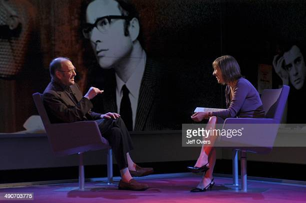 Harold Pinter gestures during his interview on Newsnight Review with Kirsty Wark