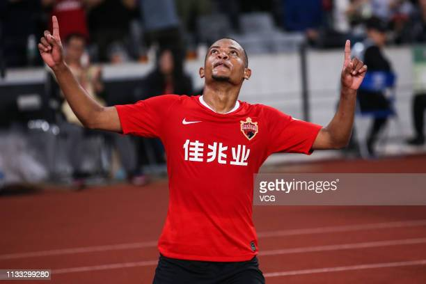 Harold Preciado of Shenzhen FC celebrates after scoring a goal during the first round match of 2019 Chinese Football Association Super League between...