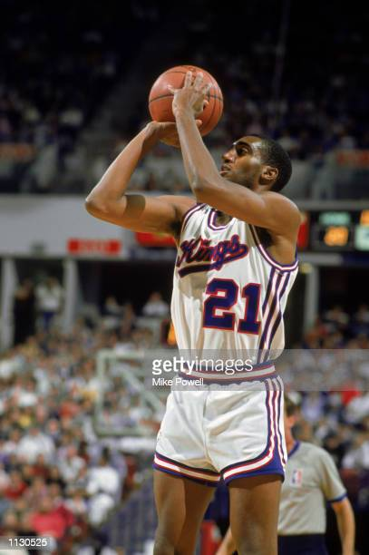Harold Pressley of the Sacramento Kings shoots a jump shot during an NBA game at Arco Arena in Sacramento California in 1988