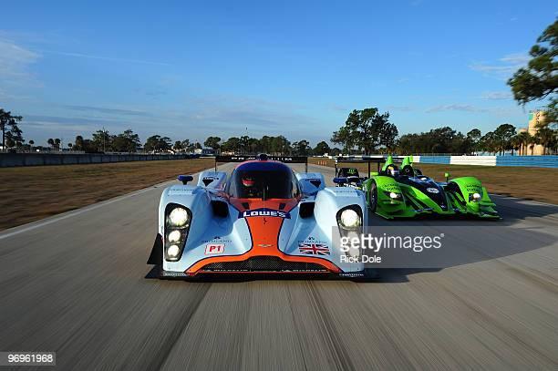 Harold Primat of Switzerland drives the Aston Martin Racing Lola B09 60 prototype and David Brabham drives the Patron Highcroft Racing HPD ARX01c...