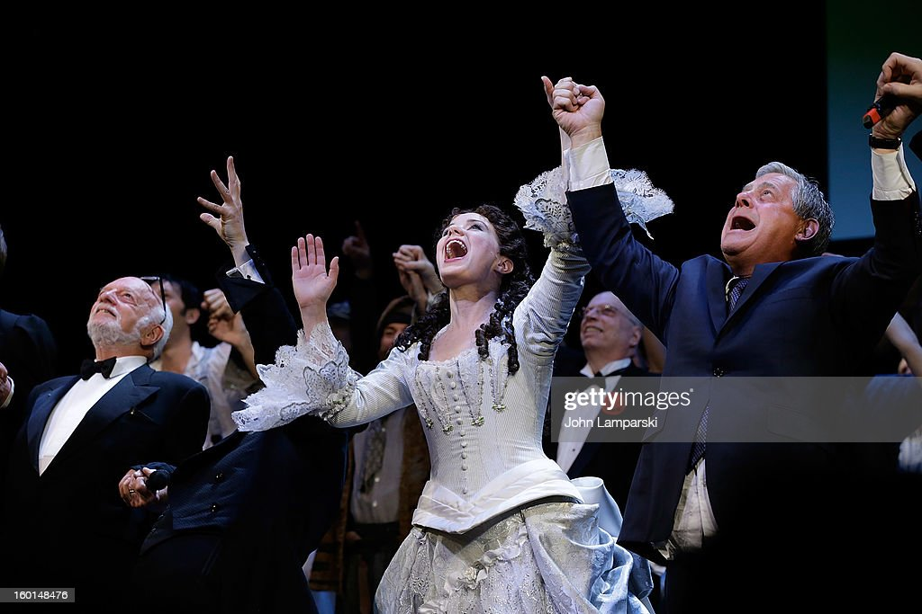 Harold Prince, Hugh Panaro, Sierra Boggess and Sir Cameron Anthony Mackintosh perform at 'The Phantom Of The Opera' Broadway 25th Anniversary at Majestic Theatre on January 26, 2013 in New York City.