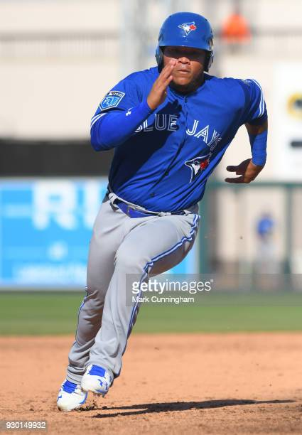 Harold Ramirez of the Toronto Blue Jays runs the bases during the Spring Training game against the Detroit Tigers at Publix Field at Joker Marchant...