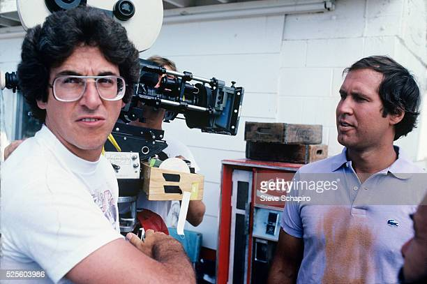 Harold Ramis and Chevy Chase during the filming of National Lampoon's Vacation