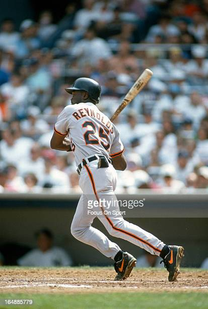 Harold Reynolds of the Baltimore Orioles bats against the New York Yankees during an Major League Baseball game circa 1993 at Yankee Stadium in the...