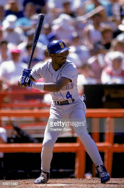 Harold Reynolds of the Seattle Mariners bats against the California Angels during the game at Anaheim Stadium on August 4 1991 in Anaheim California