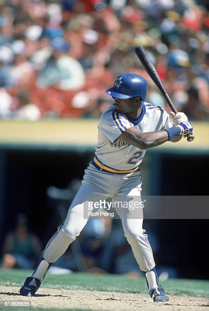 Harold Reynolds of the Seattle Mariners stands ready at the plate during a 1985 MLB season game