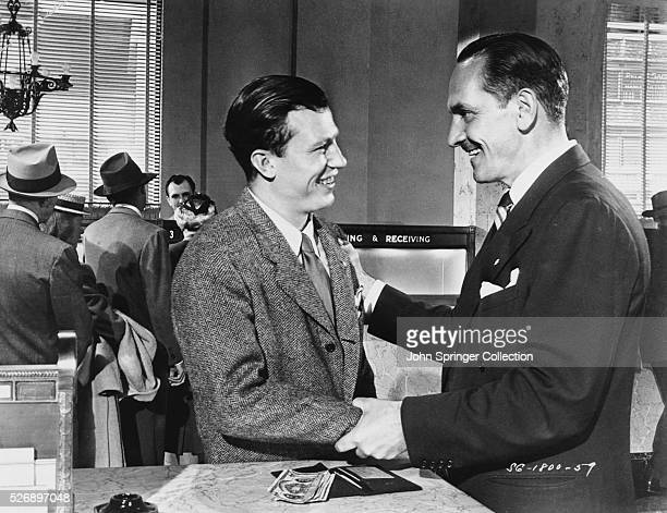 Harold Russell as the injured veteran Homer Parrish and Frederic March as Al Stephenson in the 1946 film The Best Years of Our Lives