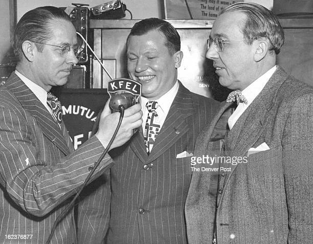 MAR 18 1947 Harold Russell Handless Veteran is shown above with Jack Fitzpatrick of radio station KFEL left and Palmer Hoyt editor and publisher of...