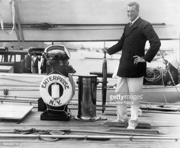 Harold S Vanderbilt at the commands of the Enterprise during trial runoffs at Newport Rhode Island before the start of the America's Cup in September