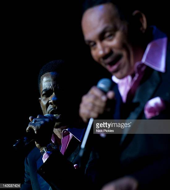 Harold 'Spike' DeLeon and Ronnie McNeir of The Four Tops perform at O2 Arena on March 28 2012 in London England