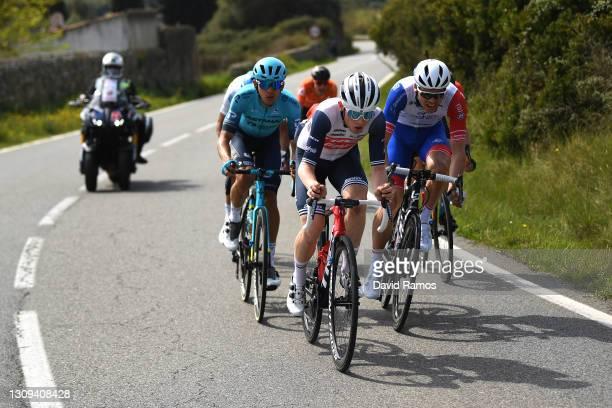 Harold Tejada Canacue of Colombia and Team Astana – Premier Tech, Mattias Skjelmose Jensen of Denmark and Team Trek - Segafredo & Antoine Duchesne of...