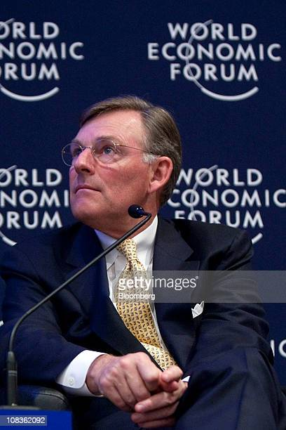 Harold Terry McGraw chairman president and chief executive officer of McGrawHill Cos listens during a session on the first day of the World Economic...