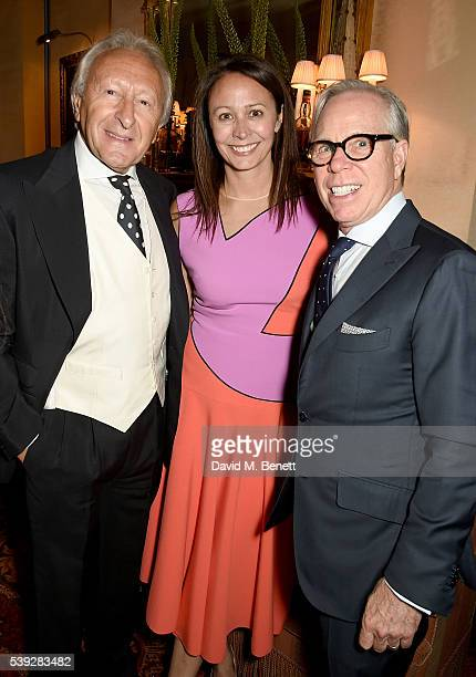 Harold Tillman, Caroline Rush and Tommy Hilfiger attend the Fung LCM Dinner at Mark's Club on June 10, 2016 in London, England.