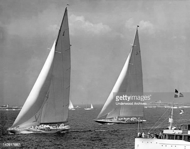 Harold Vanderbilt's America's Cup J sloop entry 'Ranger' is off to a commanding lead in the third race over TOM Sopwith's 'Endeavour' Newport Rhode...