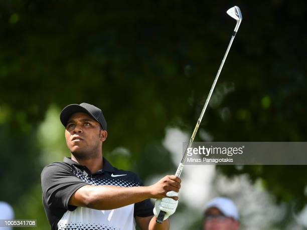 Harold Varner III hits a tee shot from the seventh during the practice rounds at the RBC Canadian Open at Glen Abbey Golf Club on July 25 2018 in...