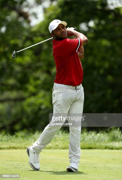 Harold Varner III hits a tee shot on the fifth hole during the final round of the John Deere Classic at TPC Deere Run on July 15 2018 in Silvis...