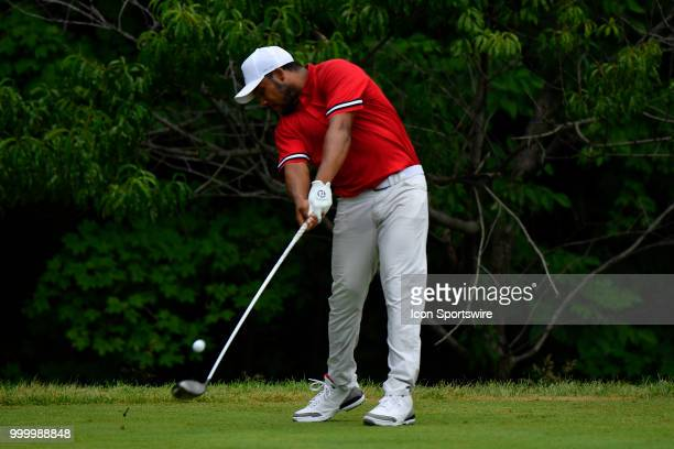 Harold Varner III hits a tee shot on the second hole during the final round of the John Deere Classic on July 15 2018 at the TPC Deere Run in Silvis...