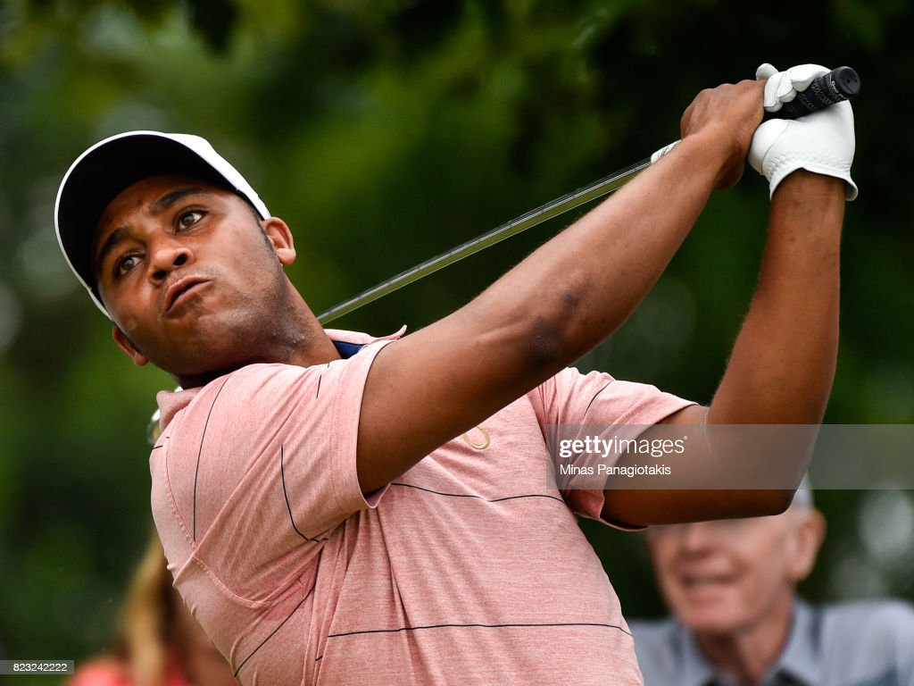 Harold Varner III hits a tee shot on the seventh hole during the championship pro-am of the RBC Canadian Open at Glen Abbey Golf Course on July 26, 2017 in Oakville, Ontario, Canada.