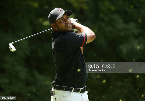 Harold Varner III hits a tee shot on the sixth hole during the first round of the John Deere Classic at TPC Deere Run on July 12 2018 in Silvis...