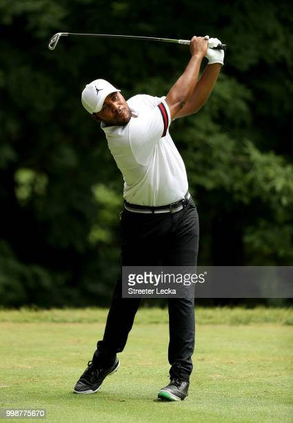 Harold Varner III hits a tee shot on the sixth hole during the third round of the John Deere Classic at TPC Deere Run on July 14 2018 in Silvis...