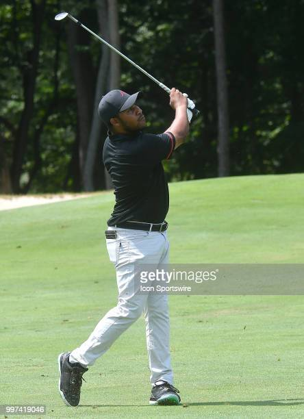 Harold Varner III hits his second shot on the hole during the first round of the John Deere Classic on July 12 at TPC Deere Run Silvis IL
