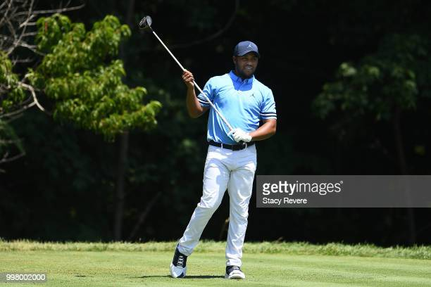 Harold Varner III hits his tee shot on the second hole during the second round of the John Deere Classic at TPC Deere Run on July 13 2018 in Silvis...