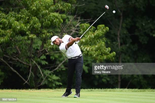 Harold Varner III hits his tee shot on the second hole during the third round of the John Deere Classic at TPC Deere Run on July 14 2018 in Silvis...