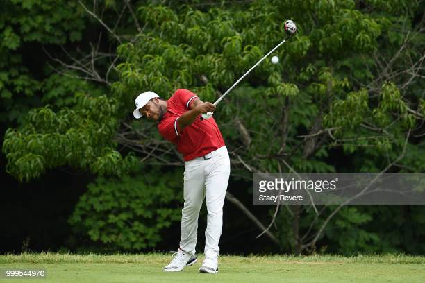 Harold Varner III hits his tee shot on the second hole during the final round of the John Deere Classic at TPC Deere Run on July 15 2018 in Silvis...