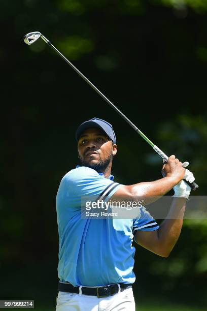 Harold Varner III hits his tee shot on the sixth hole during the second round of the John Deere Classic at TPC Deere Run on July 13 2018 in Silvis...