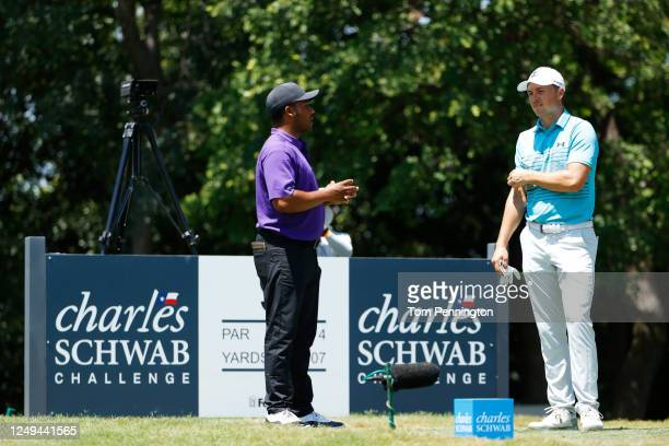 Harold Varner III of the United States and Jordan Spieth of the United States talk on the ninth tee during the third round of the Charles Schwab...