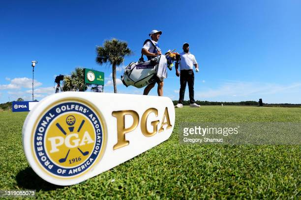 Harold Varner III of the United States looks on from the third tee during the first round of the 2021 PGA Championship at Kiawah Island Resort's...