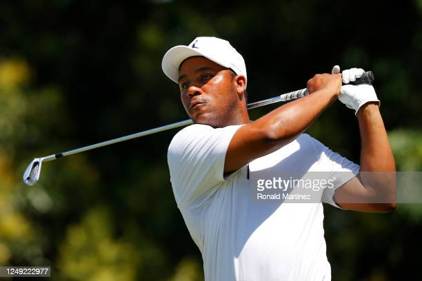 Harold Varner III of the United States plays his shot from the ninth tee during the second round of the Charles Schwab Challenge on June 12 2020 at...