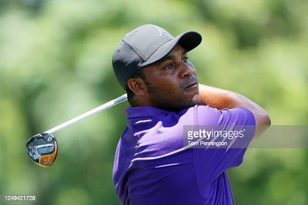 Harold Varner III of the United States plays his shot from the third tee during the third round of the Charles Schwab Challenge on June 13, 2020 at...